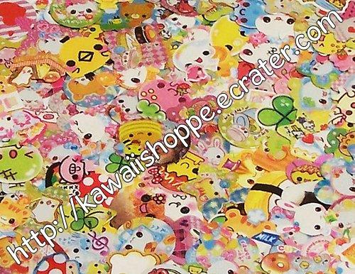 NEW Kawaii Sticker Flakes Grab Bag 250+ Stickers Grabbie Crux Kamio Q-lia No. 3