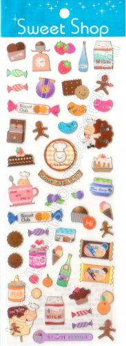 Sweet Shop Cookies Club Sticker Sheet Kawaii Stickers Bakery Candies Biscuits Chocolate Bars