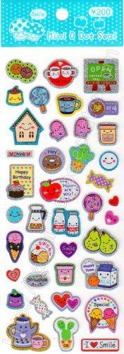 Mini Q Dot Coffee Cake and Cookies Sticker Sheet Kawaii Stickers Sweets Biscuits Tea Milk Ice Cream