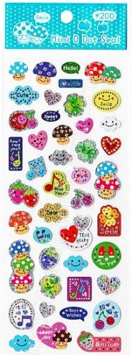 Mini Q Dot Seal Musical Mushroom Sticker Sheet - Kawaii Stickers