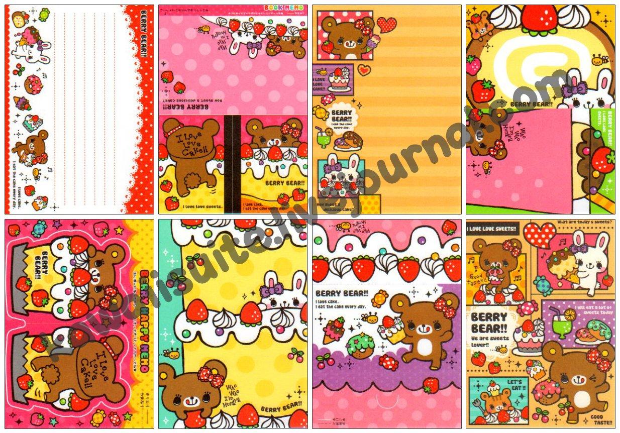 Mind Wave Berry Bear Loose Memo Sheets #065 Kawaii