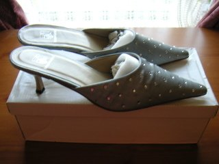 Formal Dressy Diamante Satin Silver Slip-ons Mules