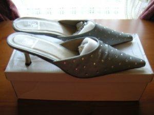 Formal Dressy Diamante Satin Silver Slip-ons Mules