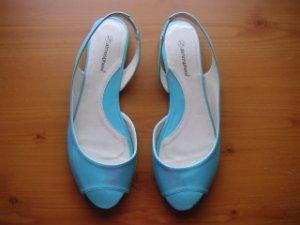 Light Bright Blue Slingback Peeptoe Sandals