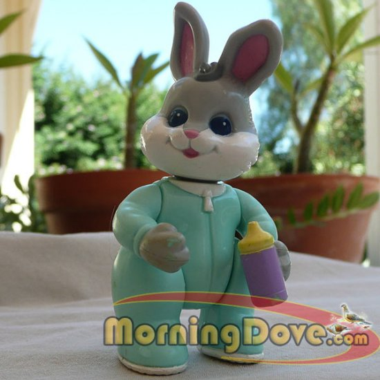 Fisher Price Hideaway Hollow Baby Bunny - Gray with White Cheeks in Green