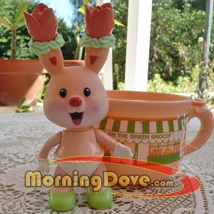 Tea Bunnies and Me Tulip Blossom Tea Bunny and the Greens on the Green Grocer Tea Cup
