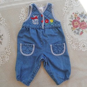 Blue Gingham Trimmed Denim Overalls with Heart Buttons for Baby Girl 12 Months