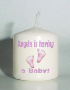 6 Baby Shower Custom Favors Votive Candles Pink Footprints Personalized