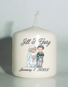 6 Wedding Bridal Shower Custom Favors Votive Candles Vintage Couple Personalized
