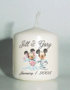 6 Wedding Bridal Shower Mickey Minnie Couple Custom Favors Votive Candles or Add to Gift baskets