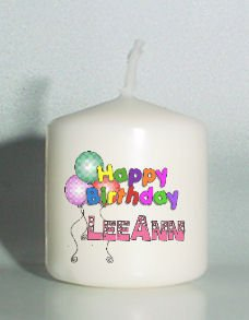 set of 6 Happy Birthday Votive Candles Custom Favors or Add to Gift baskets Personalized