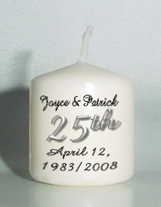 25th ANNIVERSARY set of 6 Votive Candles Custom Favors or Add to Gift baskets Personalized