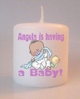 African American Baby Shower  Small Pillar Candles Custom Favors or Add to Gift baskets Personalized