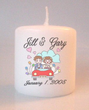 Bridal Shower  Wedding Small Pillar Candles Custom Favors Add to Gift baskets Personalized
