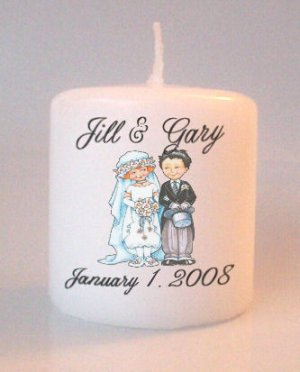 Wedding Vintage Couple Bridal Shower Small Pillar Candles Custom Favors Add to Gift baskets