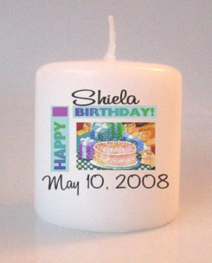 Happy Birthday Small Pillar Candles Custom Favors Add to Gift baskets Personalized