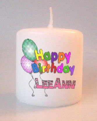 Birthday Balloons Small Pillar Candles Custom Favors Add to Gift baskets Personalized