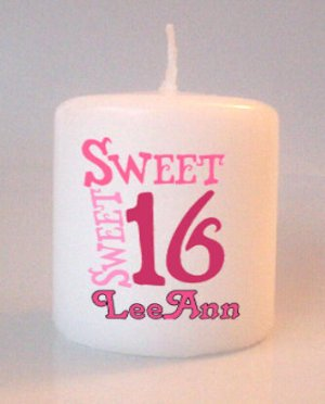 Sweet 16 Birthday Small Pillar Candles Custom Favors Add to Gift baskets Personalized