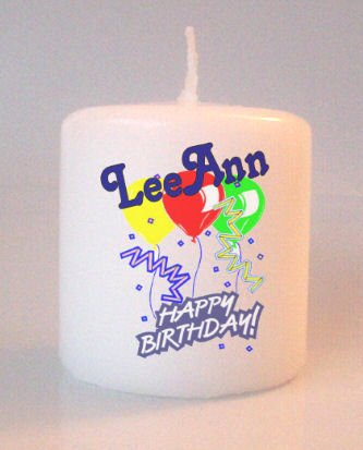 Happy Birthday Balloons Small Pillar Candles Custom Favors Add to Gift baskets Personalized