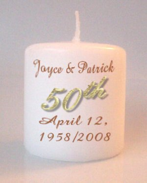 50th Anniversary Small Pillar Candles Custom Favors Add to Gift baskets Personalized