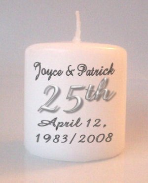 25th Anniversary Small Pillar Candles Custom Favors Add to Gift baskets Personalized