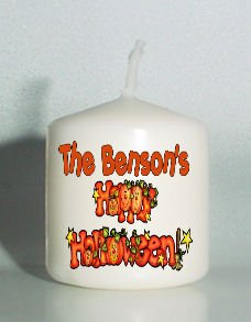 set of 6 Happy Halloween Votive Candles Custom Favors or Add to Gift baskets Personalized