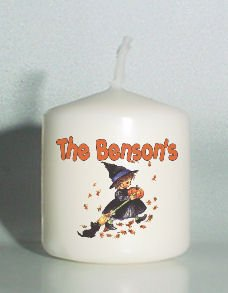set of 6 Halloween Girl Witch Votive Candles Custom Favors or Add to Gift baskets Personalized