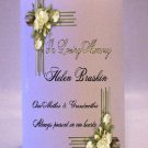 MEMORIAL White Roses 6 inch Pillar Candles Custom Personalized