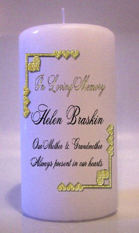MEMORIAL Gold Hearts 6 inch Pillar Candles Custom Personalized