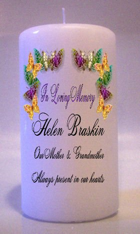 MEMORIAL Butterflys 6 inch Pillar Candles Custom Personalized