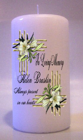 MEMORIAL White Lillies 6 inch Pillar Candles Custom Personalized