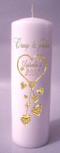 UNITY Gold Hearts 9 inch Pillar Candles Wedding Custom Personalized