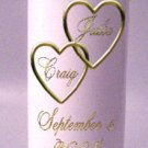 UNITY Two Hearts 9 inch Pillar Candles Wedding Custom Personalized