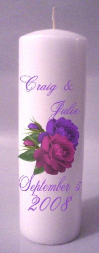 UNITY Purple Roses 9 inch Pillar Candles Wedding Custom Personalized