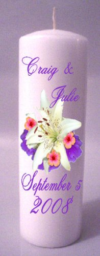 UNITY Spotted Lilly 9 inch Pillar Candles Wedding Custom Personalized