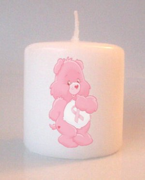 Breast Cancer Care Bear Small Pillar Candles Add to Gift baskets