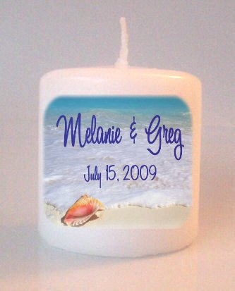 BEACH Wedding Bridal Shower Small Pillar Candles Custom Favors Add to Gift baskets