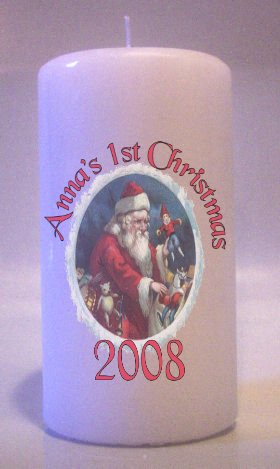 BABY FIRST CHRISTMAS 6 inch Pillar Candles Collectable Home Decor