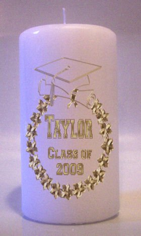 Gold GRADUATION 6 inch Pillar Candles Collectable Home Decor