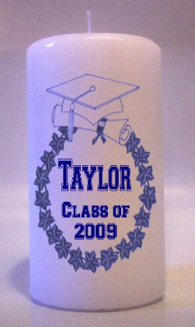Blue GRADUATION 6 inch Pillar Candles Collectable Home Decor