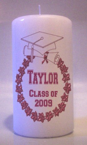 Maroon GRADUATION 6 inch Pillar Candles Collectable Home Decor