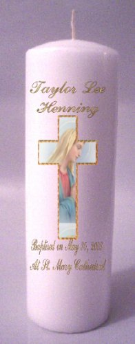 Baptisim, Communion, Confirmation 8 inch Pillar Candles Custom Personalized #1
