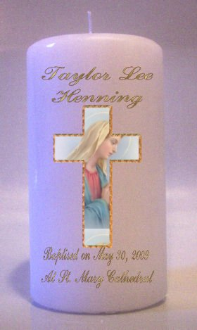 Baptism, Communion, Confirmation 6 inch Pillar Memorial Religious Candles #1