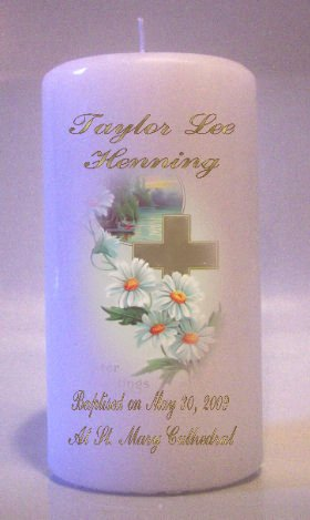 Pillar Candle 6 inch Baptism, Communion, Confirmation Memorial Religious Candles #4