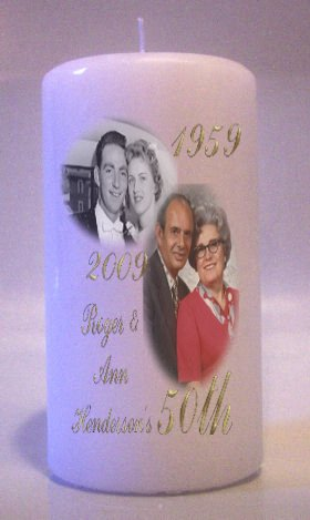 Anniversary PHOTO 6 inch Pillar Candle