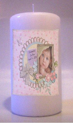 Baby  PHOTO 6 inch Pillar Candle