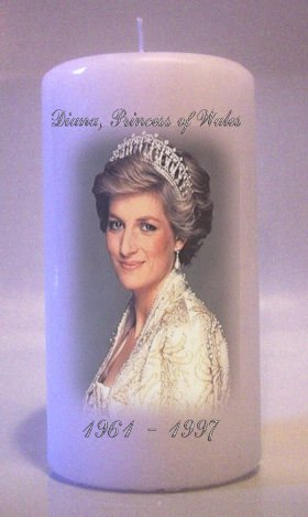 PRINCESS DIANA Lady Di Collectable 6 inch Pillar Candles Home Decor