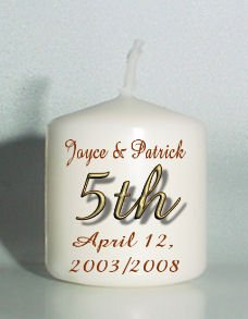 5th ANNIVERSARY set of 6 Votive Candles Custom Favors or Add to Gift baskets Personalized