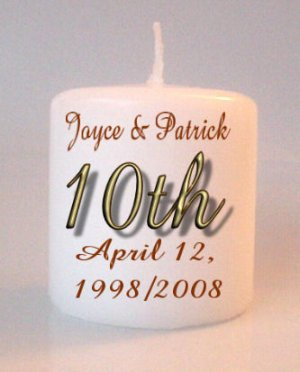 10th Anniversary Small Pillar Candles Custom Favors Add to Gift baskets Personalized