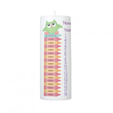 COUNTDOWN Birthday Cute Cartoon Owl and Crayon 8 inch Pillar Candle - SCENTED